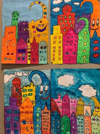 Kinder zeichnen in der Volksschule Traiskirchen